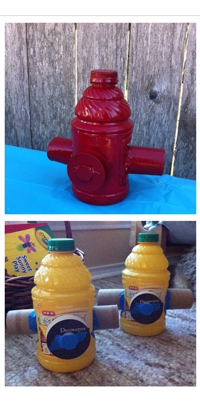 Use empty juice containers, paper towel rolls, ribbon spool and water bottle cap to make a fire hydrant party prop. Then spray paint with high gloss red.