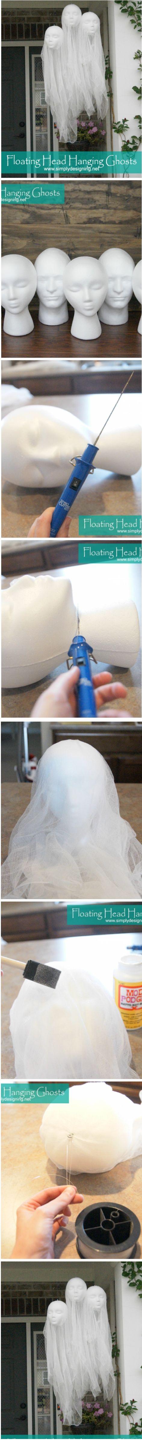 DIY Floating Head Hanging Ghosts