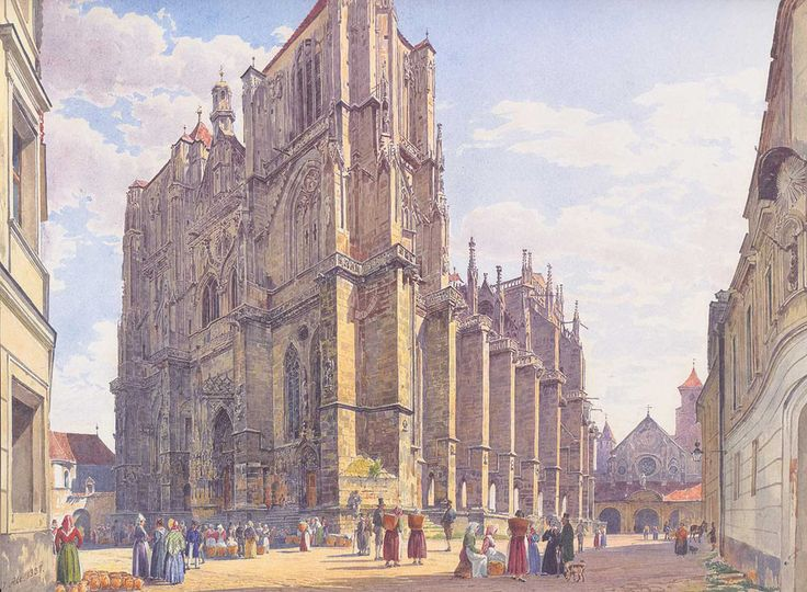 Jakob Alt. Cathedral in Regensburg, 1837. Buy this painting as premium quality canvas art print from Modarty Art Gallery. #art, #canvas, #design, #painting, #print, #poster, #decoration