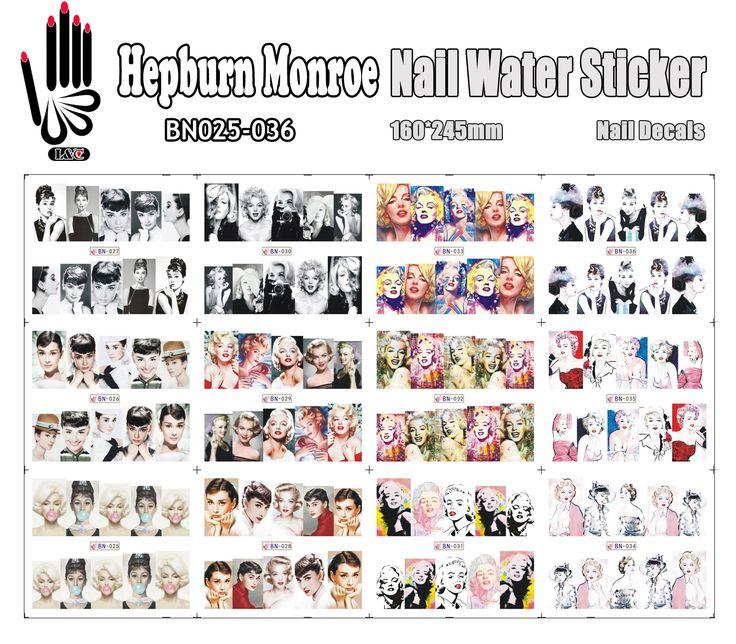 12 Blätter/Los BN025-036 Gemischt Hepburn und Monroe Voll Abdeckung Nail art Wasser Aufkleber Aufkleber Für Nagelspitze (12 DESIGNS IN 1)