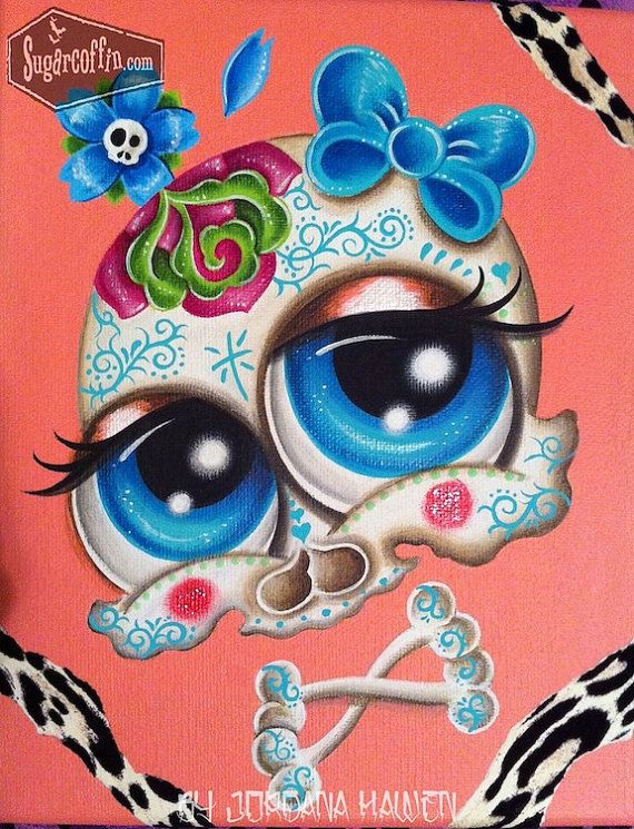 Print of my sugar skull painting day of the dead by by Spookarium, $12.00