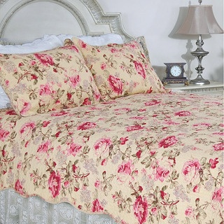 @Overstock - Lelia Pink Rose Cottage Cotton Full/ Queen-size 3-piece Quilt Set - This classic romantic pink rose floral print on a butter cream background in all cotton makes for a classic quilt ensemble. This quilt is pre-washed and pre-shrunk.     http://www.overstock.com/Bedding-Bath/Lelia-Pink-Rose-Cottage-Cotton-Full-Queen-size-3-piece-Quilt-Set/6294967/product.html?CID=214117  $57.19