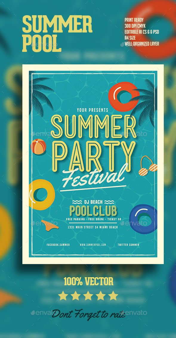Summer Pool Party Flyer Template PSD, AI Illustrator. Download here: http://graphicriver.net/item/summer-pool-party-flyer/16244171?ref=ksioks