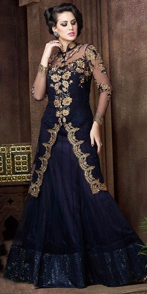 Classy Blue Net Embroidery Gown.