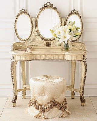 Gorgeous Fold Out Mirror Dressing Table With Tufted Sitting Pouf! Would look good in a darker color too!