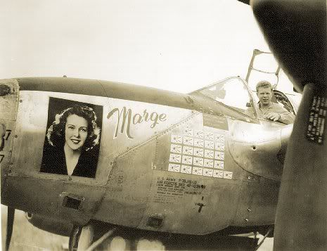 USAAF Major Richard Bong in his P-38 Lightning aircraft 'Marge', date unknown, photo 2 of 2