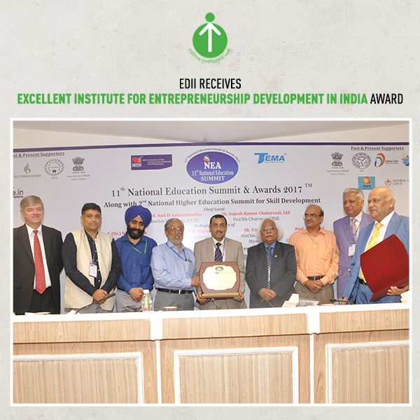 Excellence - is the word your favorite institute strives for. It puts us above everyone else. EDII was awarded 'Excellent institute for entrepreneurship development in India' at 11th National Education Summit & Award. A proud moment for all of us!