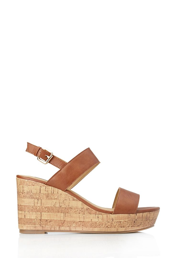 No Fuss Wedge Sandals | FOREVER21 #Wedges #Sandals #Cork