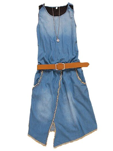 Denim Split Front Belt Dress - Sheinside.com