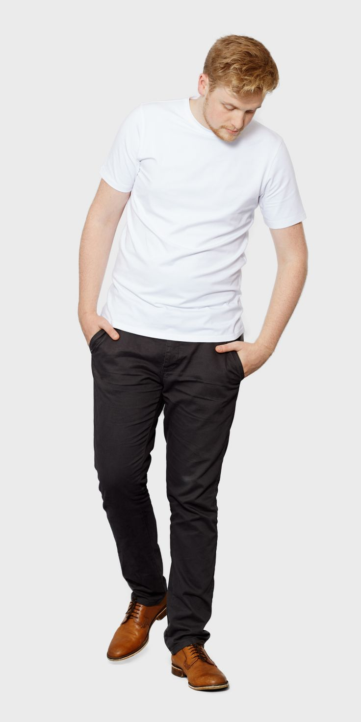 White t shirt company - Men S White Fitted Short Sleeved Round Neck T Shirt Front View The White