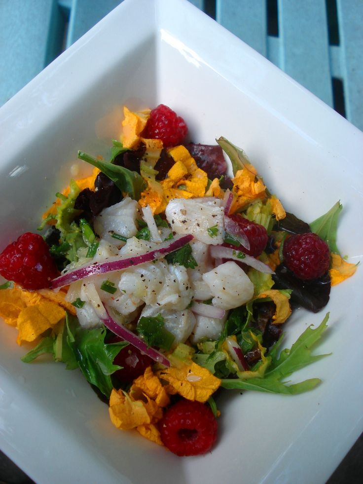 East Lynn Market #Ceviche | Fish, lime, ginger, red onion and limo hot pepper meet #organic greens, #raspberries and #squash blossoms from Cookstown Greens