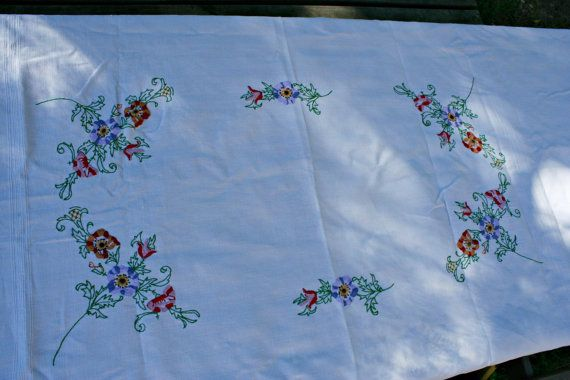 Vintage French Embroidered Linen Tablecloth by FromParisToProvence, €69.00