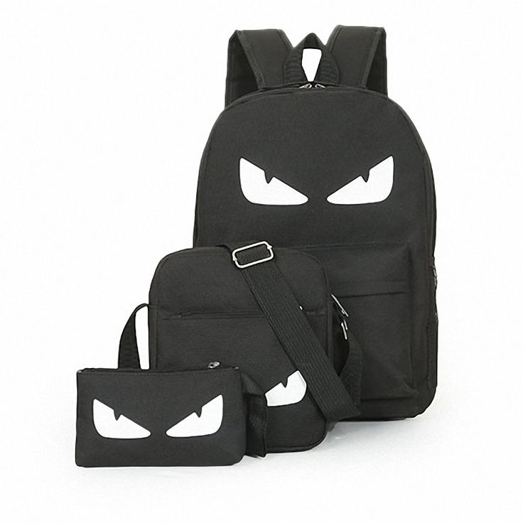 3Pcs/Sets Womens Man Luminous Black Backpacks Canvas School Book Bags Computer Backpack women student bag Large capacity mochila * Locate the offer simply by clicking the image