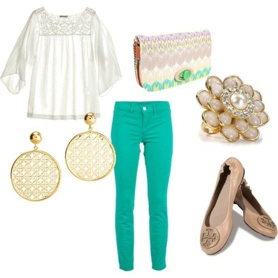 summer get-up: Colors Combos, Colors Pants, Skinny Jeans, Colors Jeans, Cute Outfits, Aqua Jeans, Colors Schemes, Flats, Spring Outfits