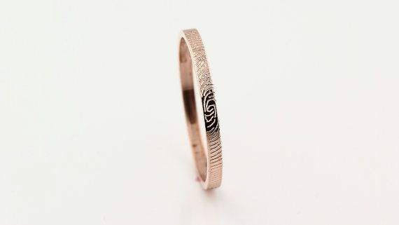 2mm Custom-Fingerabdruck-Ring 14 k Rose Gold Custom von GNGJewel