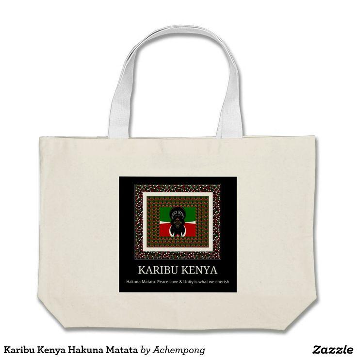 Karibu Kenya Hakuna Matata Jumbo Tote Bag #Karibu #Kenya #Hakuna #Matata #Jumbo #Tote #Bag  #Colors   #Artwork #designed by #Achempong