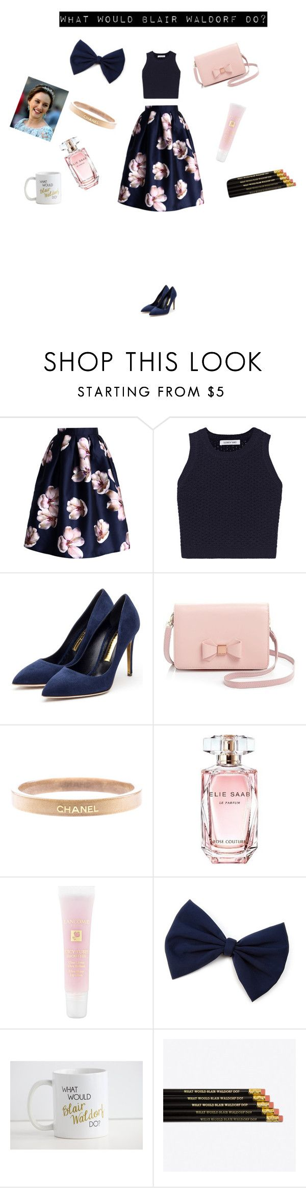 """""""Blair Waldorf"""" by jxfxkx ❤ liked on Polyvore featuring Chicwish, Elizabeth and James, Rupert Sanderson, Ted Baker, Chanel, Elie Saab, Lancôme, GetTheLook, outfit and gossipgirl"""