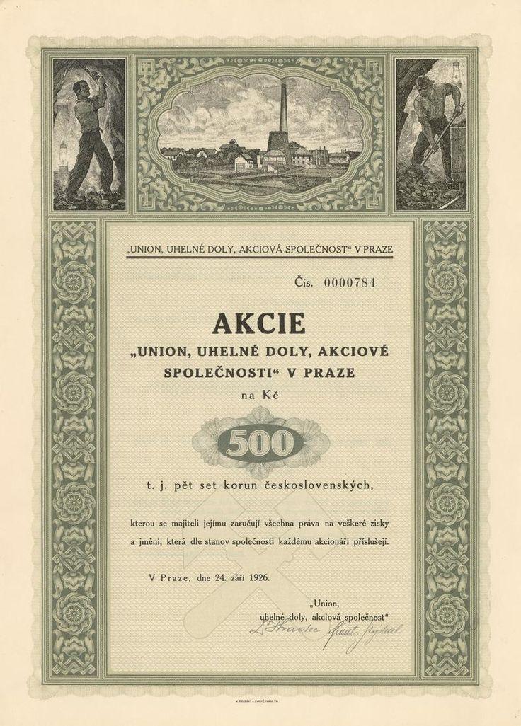 UNION, uhelné doly akc. spol. v Praze (Union, Bergbau AG). Akcie na 500 Kč. Praha, 1926.