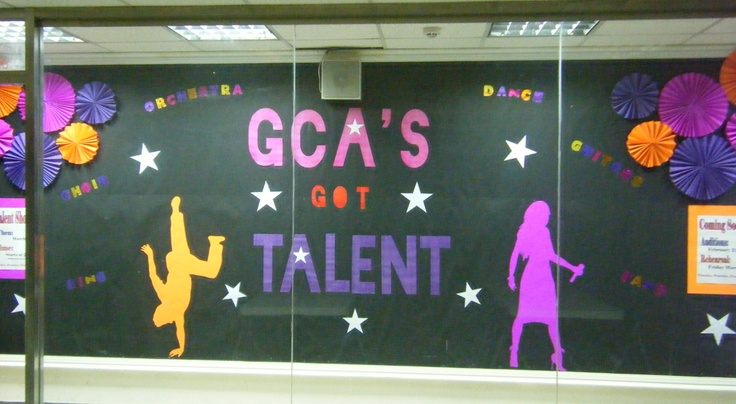Talent Show Bulletin Board (2012). Huge bulletin board design I (Julia Harris) created for the talent show. This is part 1. The second part will come after talent show when I get pictures of the actual show and place on the board. Would've liked to make the side posters a little bigger, but I worked with what I had for supplies. The side posters are: Left (when the talent show is, what time it starts, and when to be there), and Right (when auditions and rehearsals are).