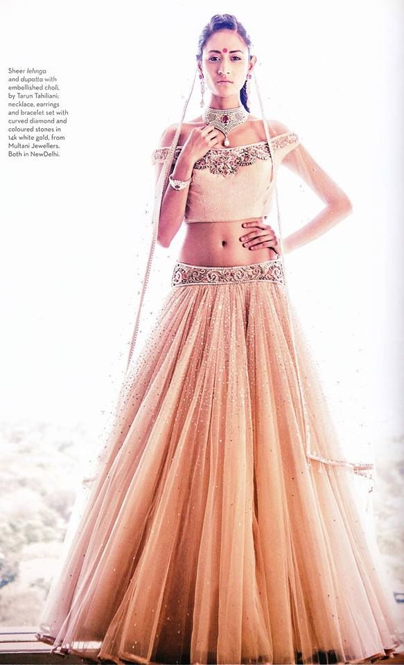 Verve India features a charming Tarun Tahiliani lehenga from the Autumn Winter '14 Occasionwear collection in the September, 2014 issue.