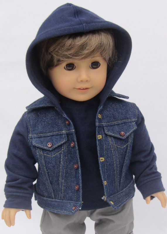 American Girl Boy Doll Clothes Hoodie Denim Jacket by Minipparel