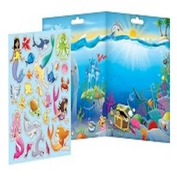 """Explore the depths of a sunny sea with the Mermaids Magnetic Play Set from Imaginetics! The play set features coral, treasure and beautiful blue water on a convenient 14.5"""" x 8"""" playboard, just waiting for kids to have their own underwater adventure. These 25 sturdy magnet pieces are easy for small hands to hold, so kids can create a watery world of pretend play.#underthesea #mermaids #magnets #imaginetics"""