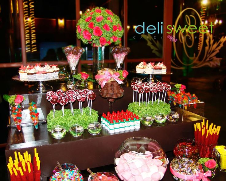 Candy bar para xv a os barra de dulces mesa de dulces for Ideas para decorar mesa de dulces