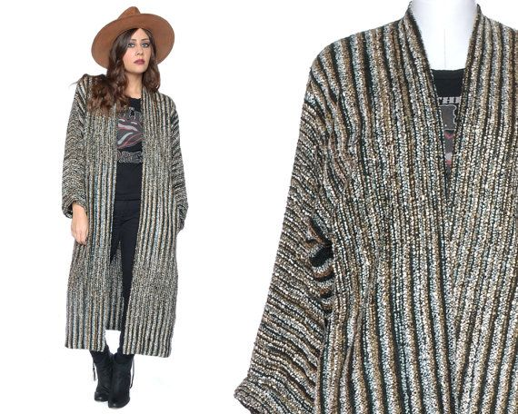 80s Oversized Cardigan Green Striped Boucle by GravelGhostVintage