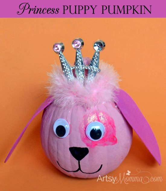 Make an adorable puppy pumpkin craft and decoration! It's also a princess puppy or a pink 'doggie' like my daughter calls it.