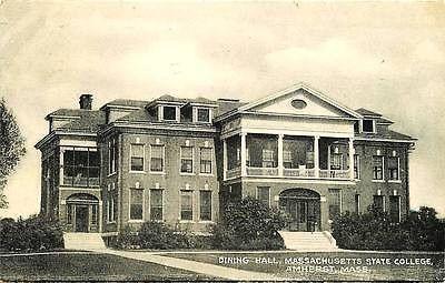 Amherst Massachusetts MA 1940s Massachusetts State College Dining Hall Postcard