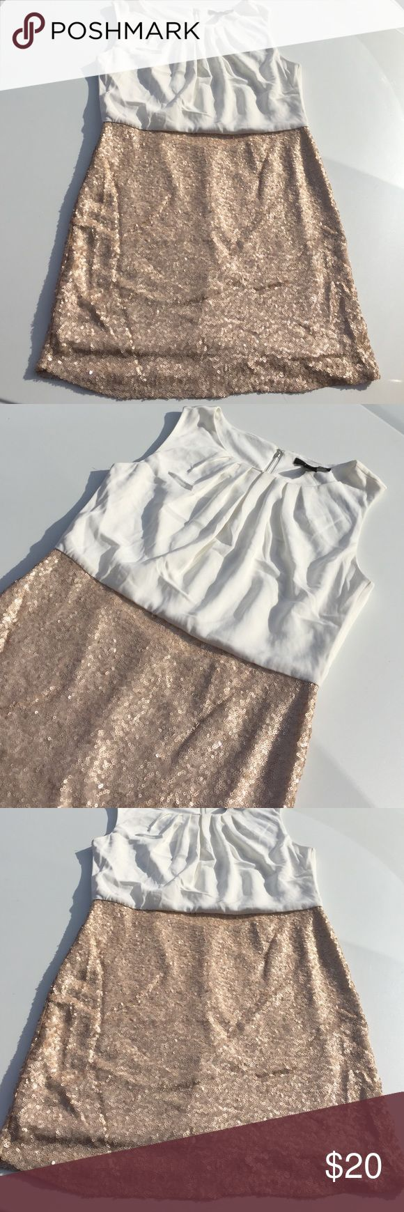 """NWT FOREVER 21 White/Nude Sequin Dress Brand new. Tag attached. Color: Ivory up top & nude/blush sequins on bottom. Tag says item color is """"Ivory/Taupe"""". White inside lining. Size: Medium. Zip closure on back down middle. 100% polyester. *Pls take note 📝 this IS a Forever 21 dress. Some imperfections are to be expected from this clothing line especially in hem lines and stitching. While it's brand new it's not a perfect dress. Hem could be better and some areas of stitching. That's good ol…"""