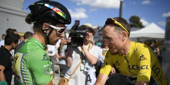 Cyclisme sur route - Tour de France - Chris Froome et Peter Sagan étaient dans le groupe de tête à l'arrivée. (MANTEY STEPHANE/L'Equipe)