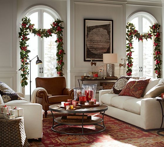 Pottery Barn Faux Ornament Magnolia Collection Garland