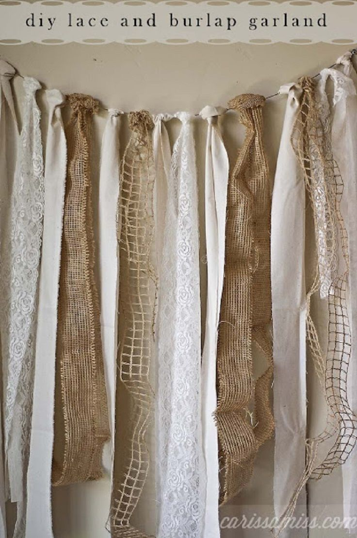 DIY burlap and lace garland.. Looks perfect for someone's wedding... @Lindsay Eckman-Kunert