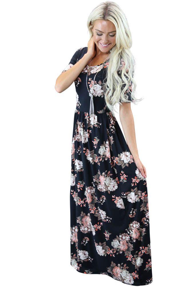 """Miranda"" Modest Maxi Dress in Black Floral Print"