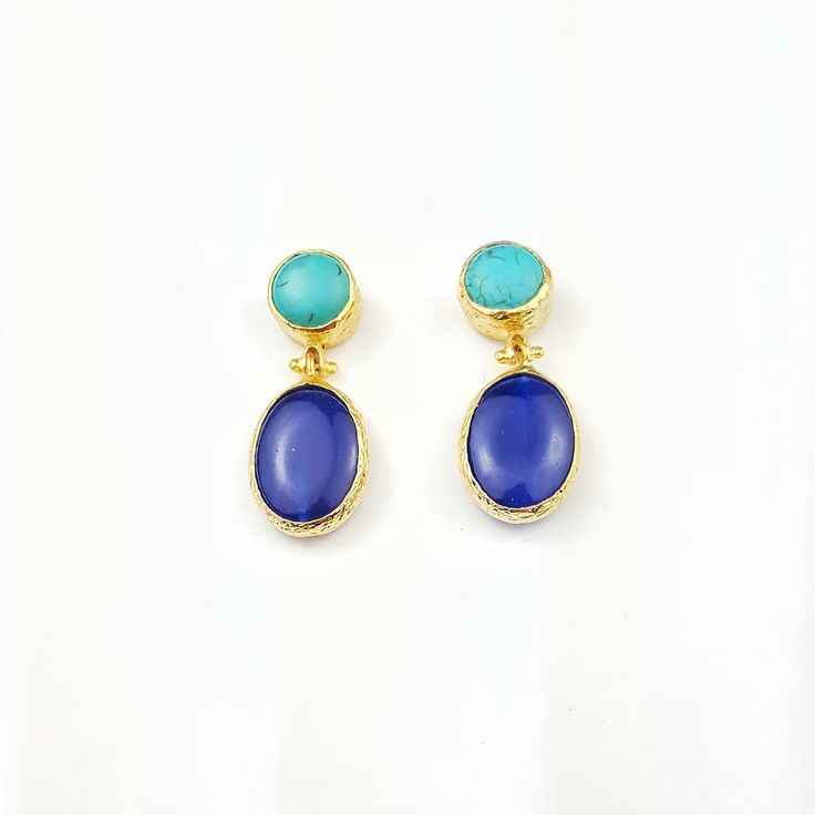 Pendientes azul marino y turquesa. Blue and turquoise earrings