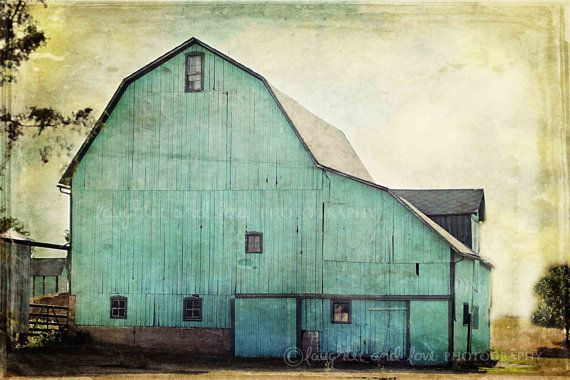 Aqua Barn Fine Art Photography Mint Green Farmhouse Farm Country Rustic Vintage Home Decor Wall Art Ready to Frame