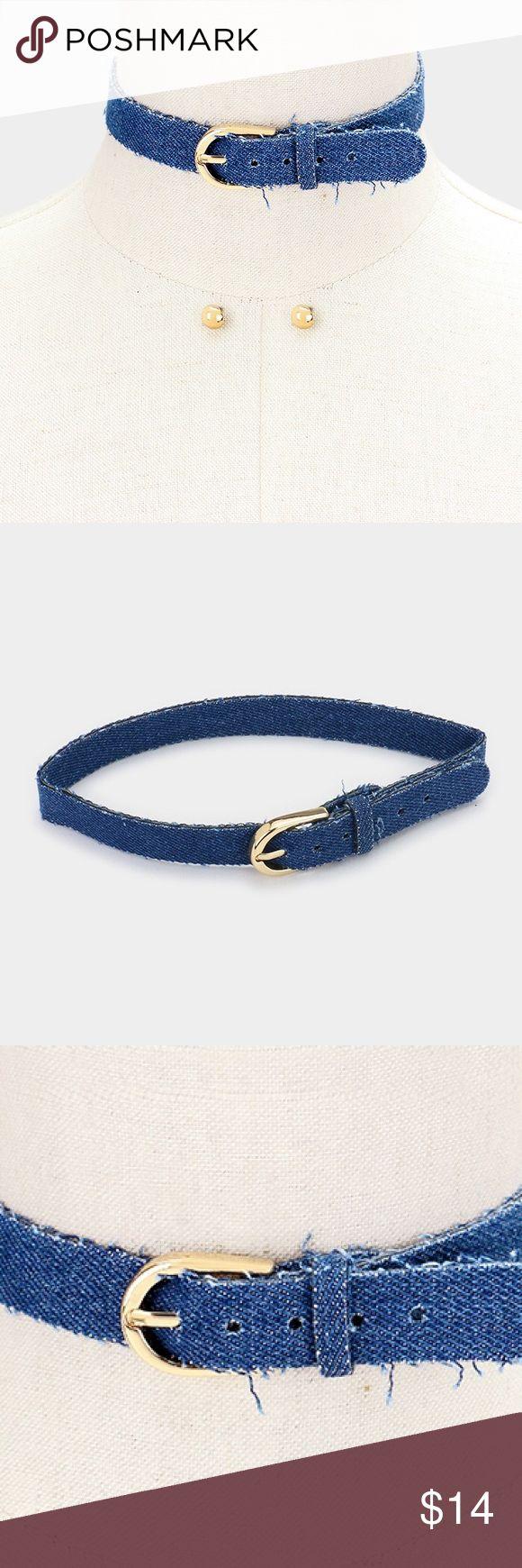 """Denim Buckle Choker + Earring Set [grandavenue: 323841] • Color : Blue, Gold • Necklace Size : 12"""" + 3"""" L, 0.75"""" H • Earrings Size : 0.3"""" L • Buckle belt denim choker necklace Jewelry Necklaces"""