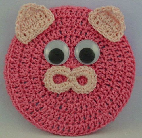 FREE PATTERN ~ Critter Pig Coaster