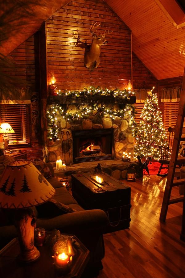 A Christmas Cabin I would not have any stuffed animals or heads, but otherwise this is stunning