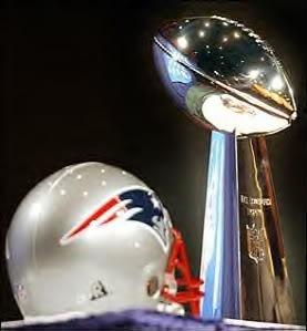 Patriots helmet, Super Bowl trophy