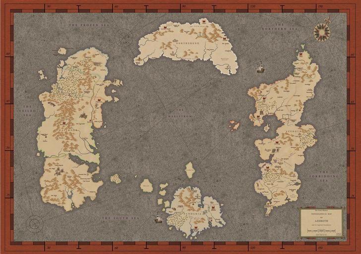 Karte von Azeroth im Renaissance-Stil
