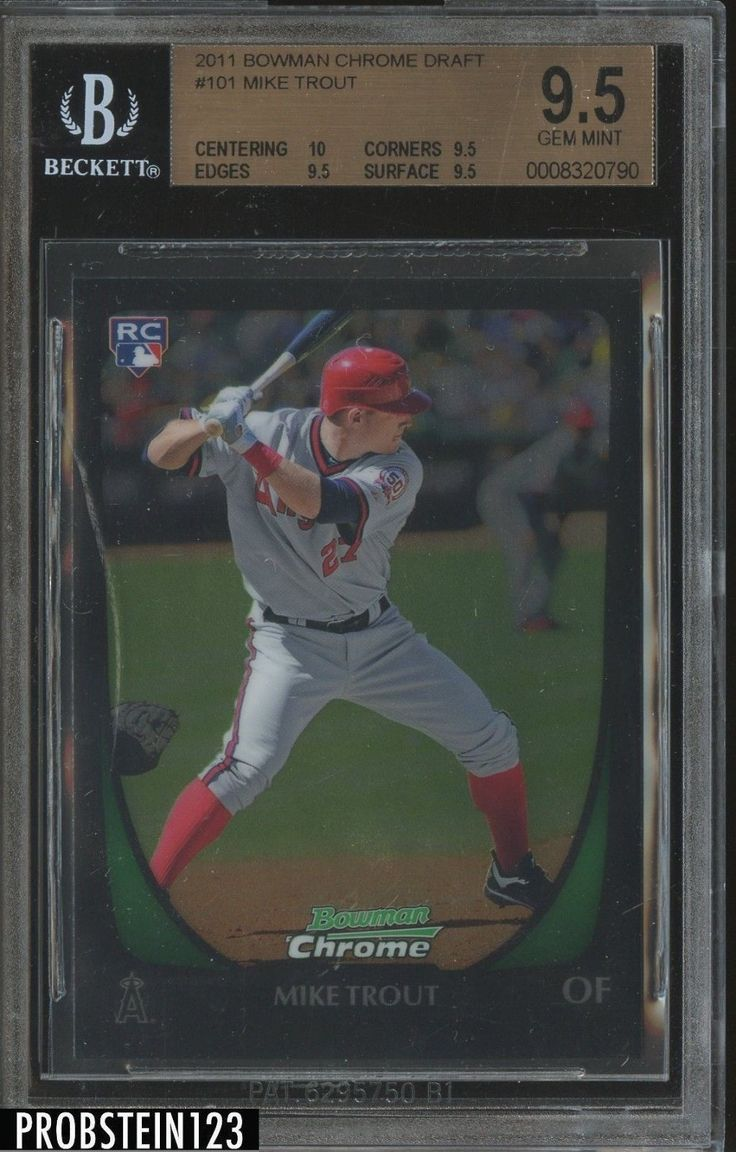 2011 bowman chrome 101 mike trout angels rc rookie bgs 9