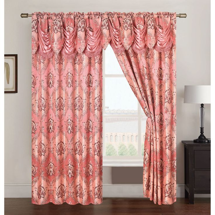 RT Designers Collection Vernon Jacquard 84 inch Double Rod Pocket Curtain Panel with Attached 18 inch Valance