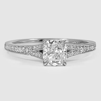 Platinum Duet Diamond Ring // Set with a 1.03 Carat, Cushion, Ideal Cut, F Color, VS1 Clarity Diamond #BrilliantEarth
