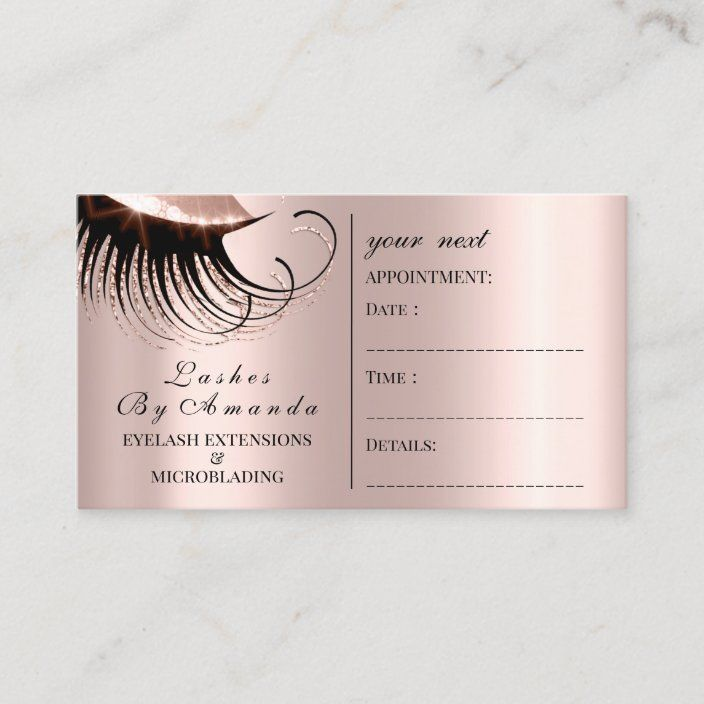 Appointment Card Makeup Artist Rose Lashes Lux Zazzle Com Rose Gold Business Card Appointment Cards Makeup Artist