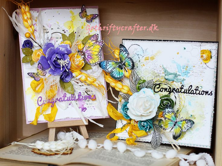 wedding cards water color, stamps, roses and butterflies