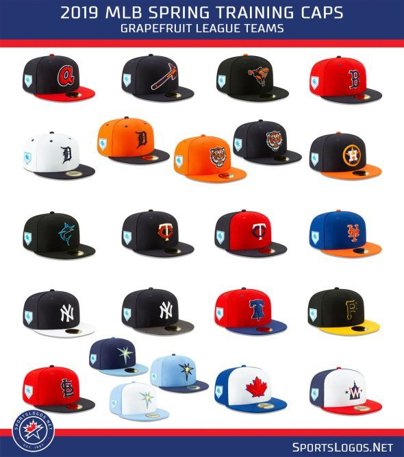 Mlb Releases 2019 Spring Training Cap Collection Chris Creamer S Sportslogos Net News And Blog Spring Training Baseball Spring Training Mlb Spring Training