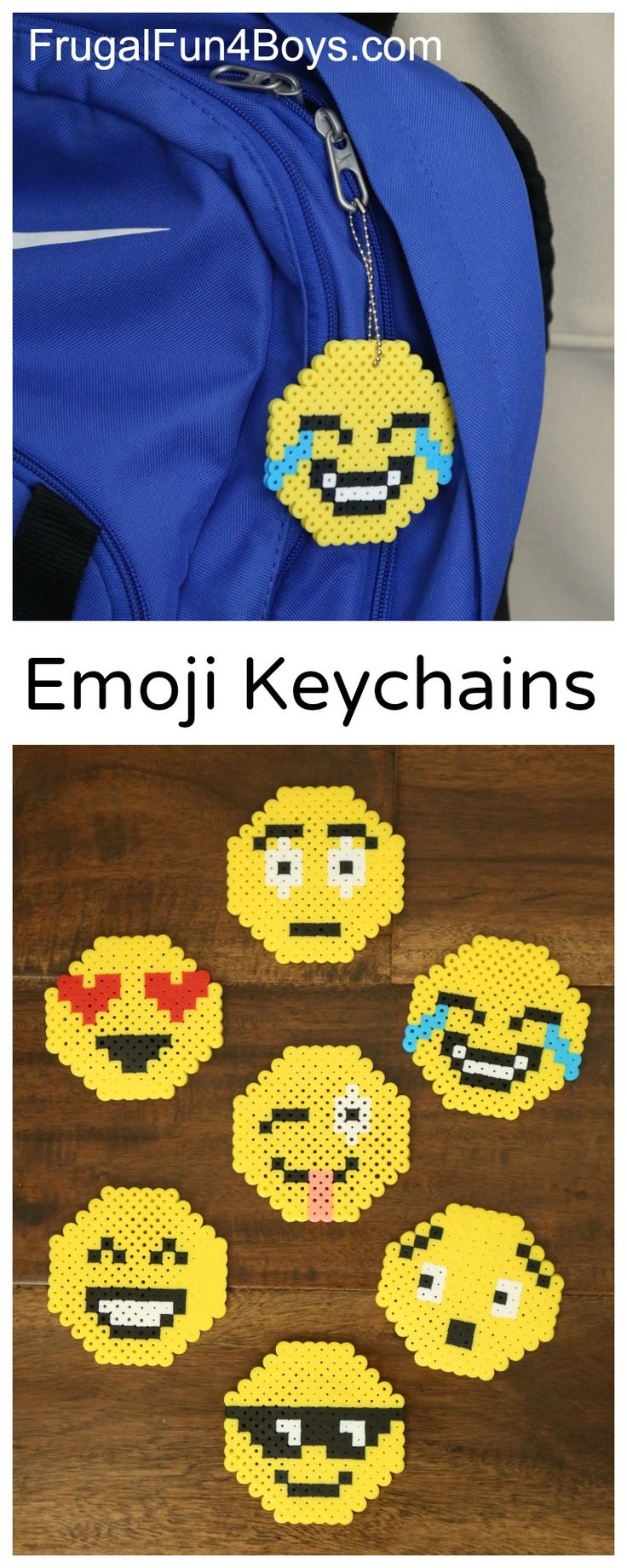 Emoji Perler Bead Keychains - Fun craft project for kids of all ages. 7 Emoji designs in the post.