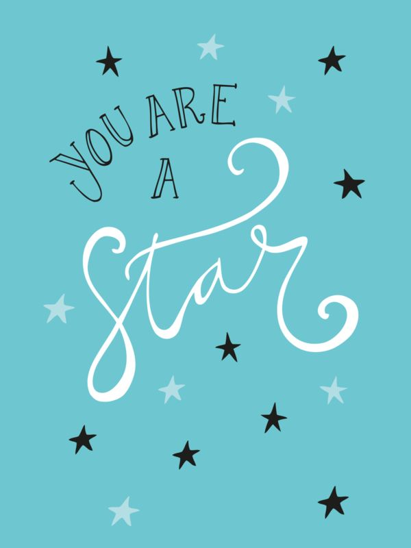 Ansichtkaart You are a star Ansichtkaart met quote You are a star. Ontwerp: Funny Side Up